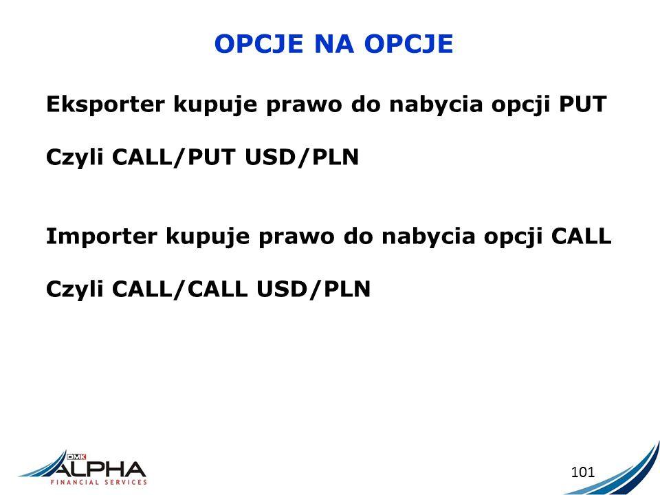 OPCJE NA OPCJE 101 Eksporter kupuje prawo do nabycia opcji PUT Czyli CALL/PUT USD/PLN Importer kupuje prawo do nabycia opcji CALL Czyli CALL/CALL USD/