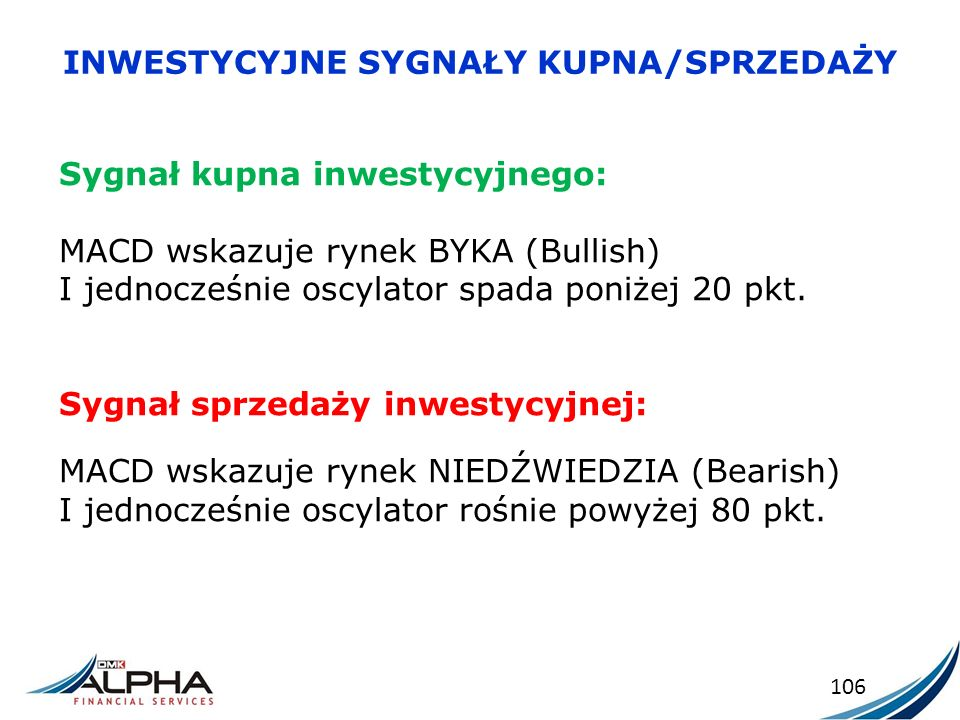 INWESTYCYJNE SYGNAŁY KUPNA/SPRZEDAŻY 106 Sygnał kupna inwestycyjnego: MACD wskazuje rynek BYKA (Bullish) I jednocześnie oscylator spada poniżej 20 pkt