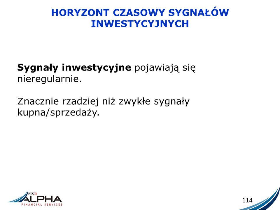 HORYZONT CZASOWY SYGNAŁÓW INWESTYCYJNYCH 114 Sygnały inwestycyjne pojawiają się nieregularnie. Znacznie rzadziej niż zwykłe sygnały kupna/sprzedaży.
