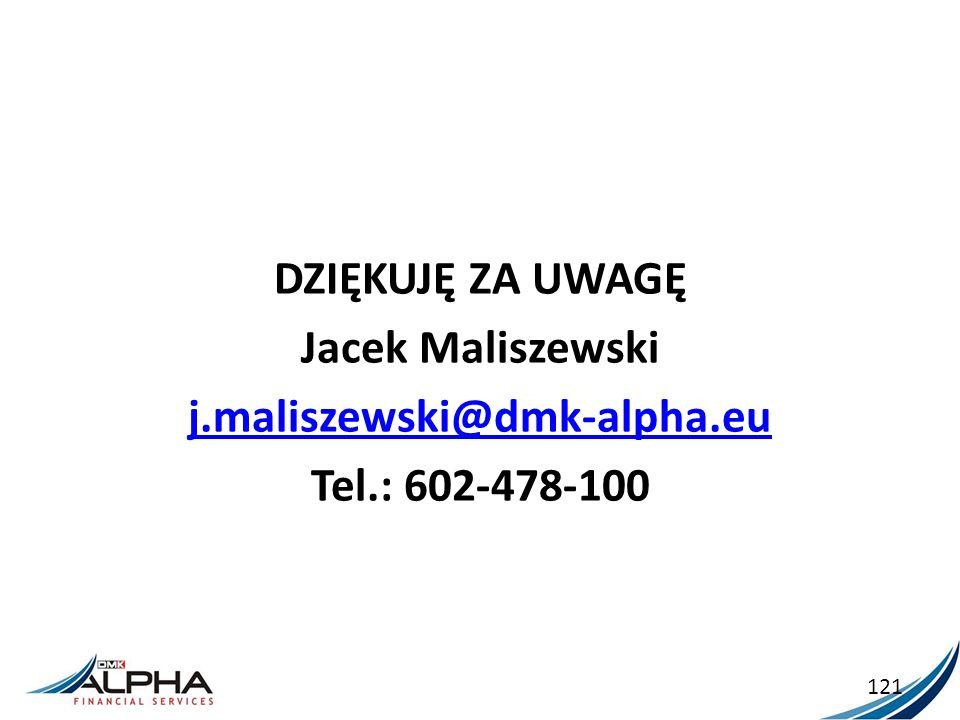 DZIĘKUJĘ ZA UWAGĘ Jacek Maliszewski j.maliszewski@dmk-alpha.eu Tel.: 602-478-100 121