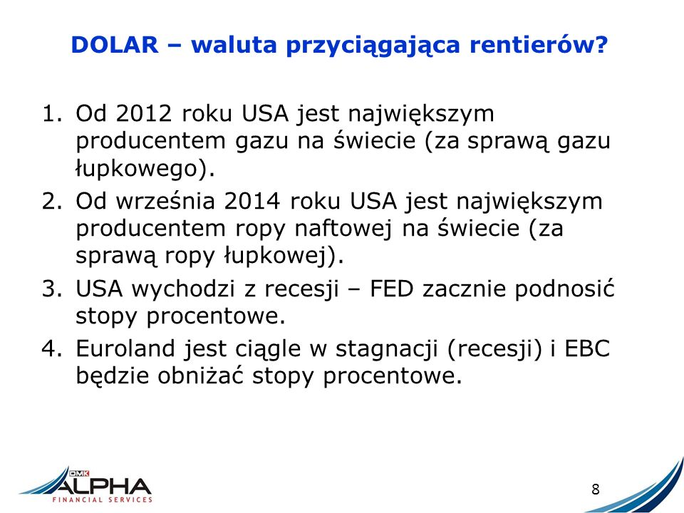 Z ASADA DZIAŁANIA OPCJI PUT 49 Efektywny kurs wymiany Euro na Złote: 1)Jeśli w dniu wymiany kurs EUR/PLN będzie równy 5,00 KEE = 5,00 – 0,07 = 4,93 2) Jeśli w dniu wymiany kurs EUR/PLN będzie równy 3,00 KEE = 4,00 – 0,07 = 3,93