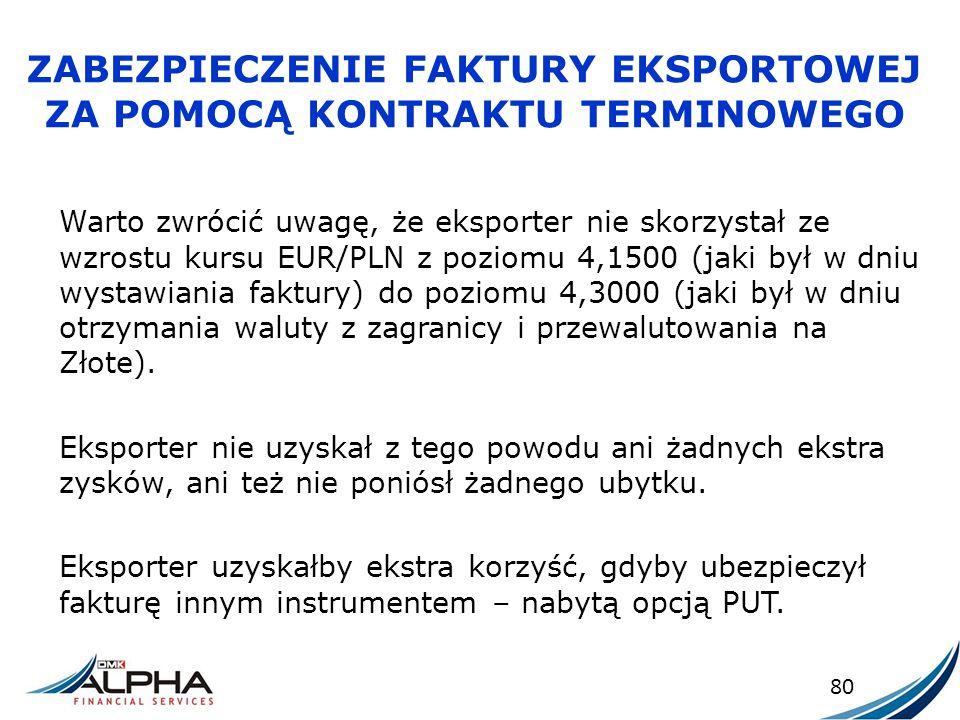 ZABEZPIECZENIE FAKTURY EKSPORTOWEJ ZA POMOCĄ KONTRAKTU TERMINOWEGO Warto zwrócić uwagę, że eksporter nie skorzystał ze wzrostu kursu EUR/PLN z poziomu