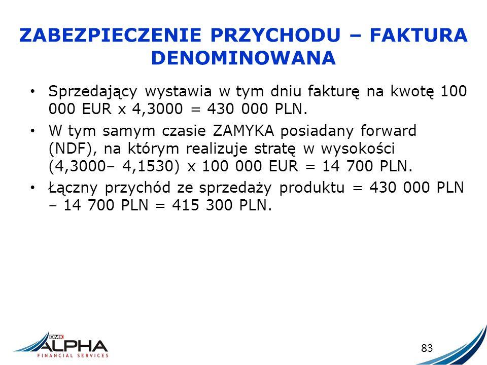 ZABEZPIECZENIE PRZYCHODU – FAKTURA DENOMINOWANA Sprzedający wystawia w tym dniu fakturę na kwotę 100 000 EUR x 4,3000 = 430 000 PLN. W tym samym czasi