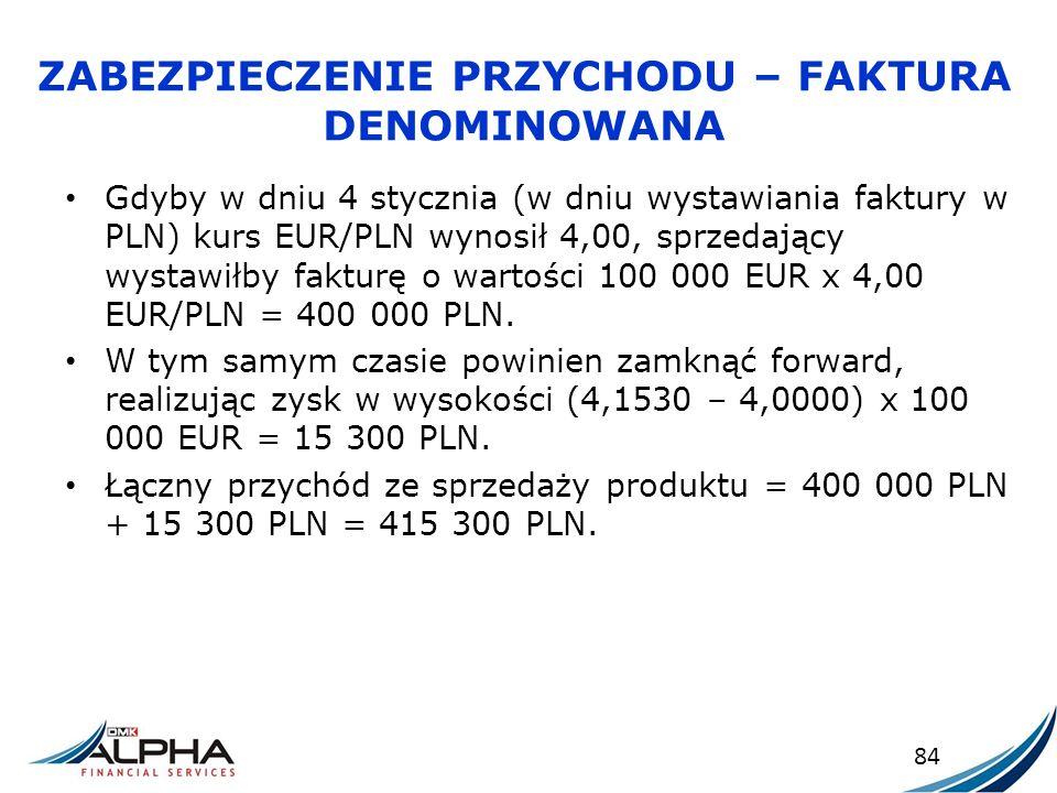 ZABEZPIECZENIE PRZYCHODU – FAKTURA DENOMINOWANA Gdyby w dniu 4 stycznia (w dniu wystawiania faktury w PLN) kurs EUR/PLN wynosił 4,00, sprzedający wyst