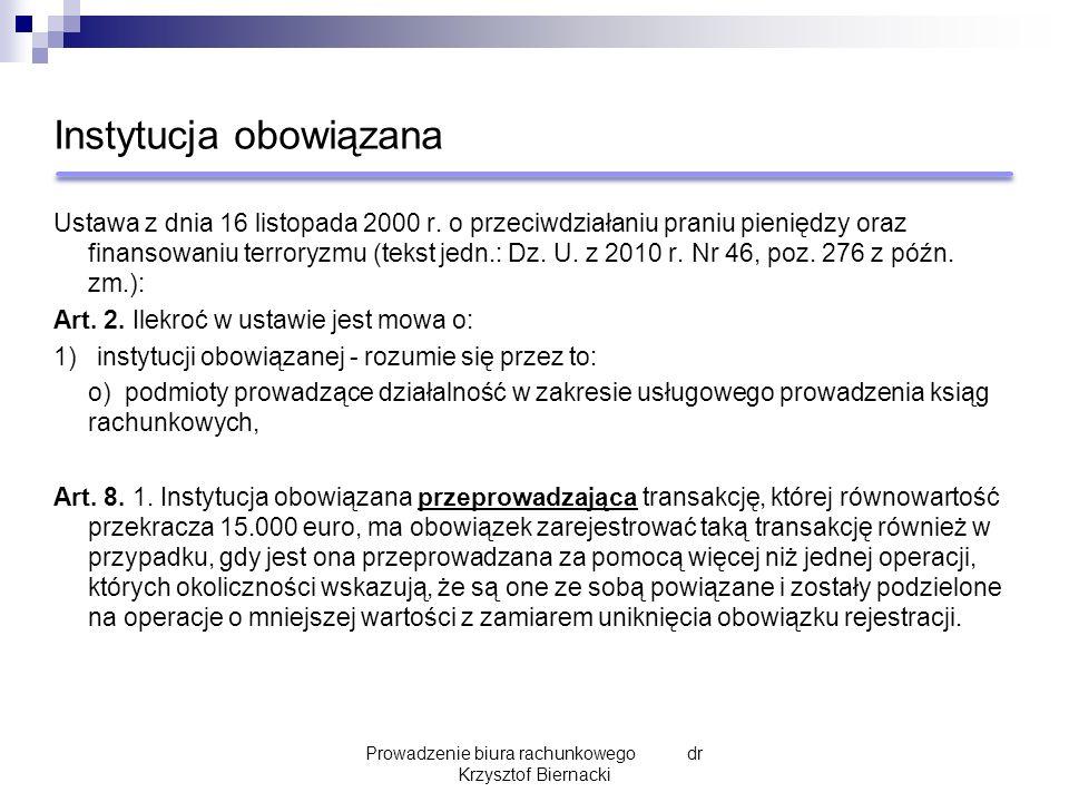 Instytucja obowiązana Ustawa z dnia 16 listopada 2000 r. o przeciwdziałaniu praniu pieniędzy oraz finansowaniu terroryzmu (tekst jedn.: Dz. U. z 2010