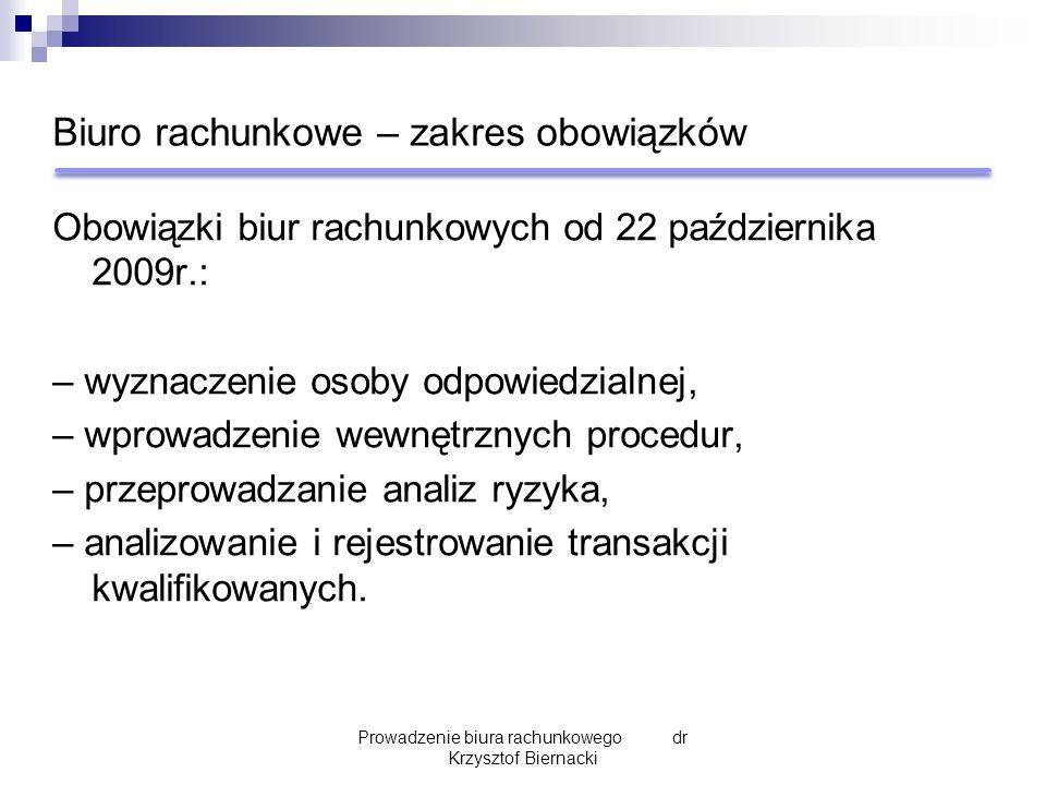 Biuro rachunkowe – zakres obowiązków Obowiązki biur rachunkowych od 22 października 2009r.: – wyznaczenie osoby odpowiedzialnej, – wprowadzenie wewnęt