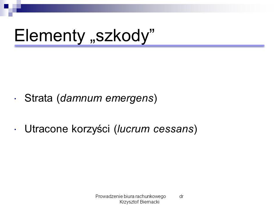 """Elementy """"szkody""""  Strata (damnum emergens)  Utracone korzyści (lucrum cessans) Prowadzenie biura rachunkowego dr Krzysztof Biernacki"""