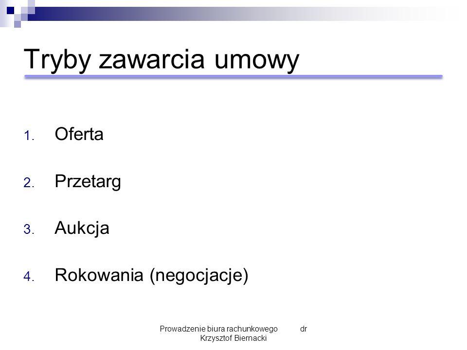 Tryby zawarcia umowy 1. Oferta 2. Przetarg 3. Aukcja 4. Rokowania (negocjacje) Prowadzenie biura rachunkowego dr Krzysztof Biernacki