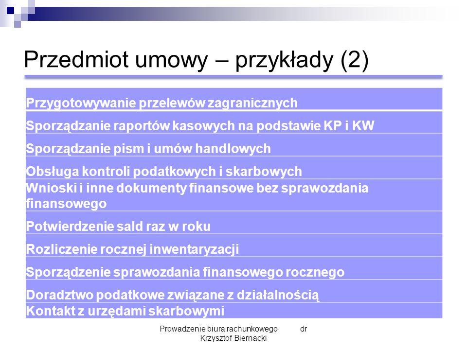 Przedmiot umowy – przykłady (2) Prowadzenie biura rachunkowego dr Krzysztof Biernacki Przygotowywanie przelewów zagranicznych Sporządzanie raportów ka