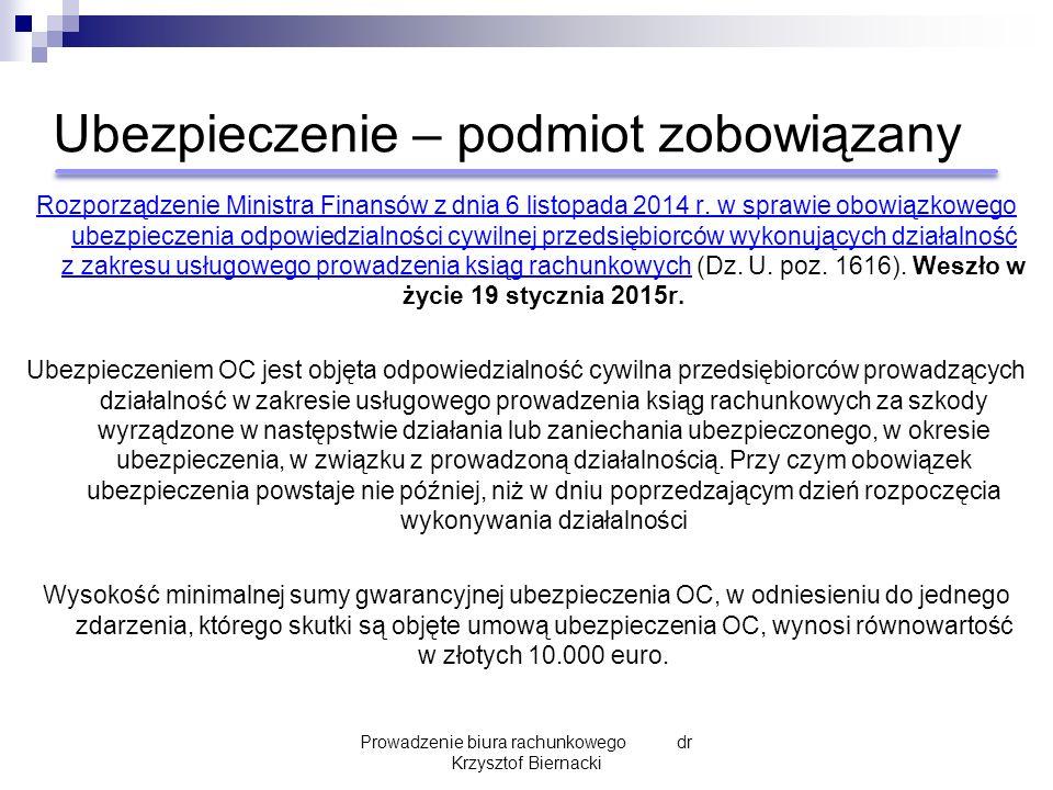 Ubezpieczenie – podmiot zobowiązany Rozporządzenie Ministra Finansów z dnia 6 listopada 2014 r.
