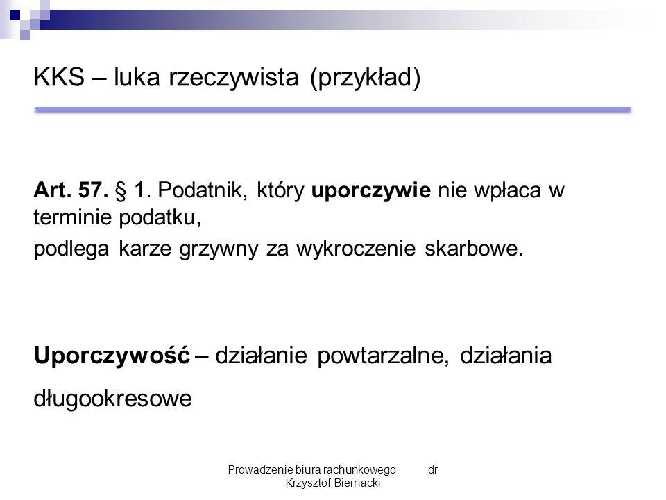 KKS – luka rzeczywista (przykład) Art. 57. § 1.