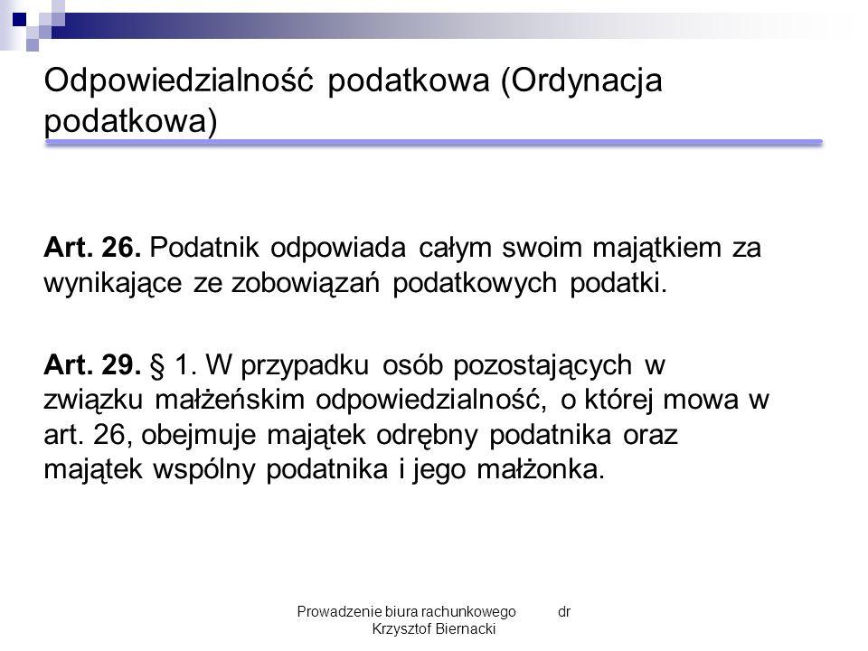 Odpowiedzialność podatkowa (Ordynacja podatkowa) Art.