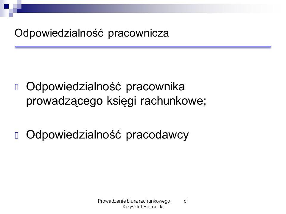 Odpowiedzialność pracownicza  Odpowiedzialność pracownika prowadzącego księgi rachunkowe;  Odpowiedzialność pracodawcy Prowadzenie biura rachunkowego dr Krzysztof Biernacki