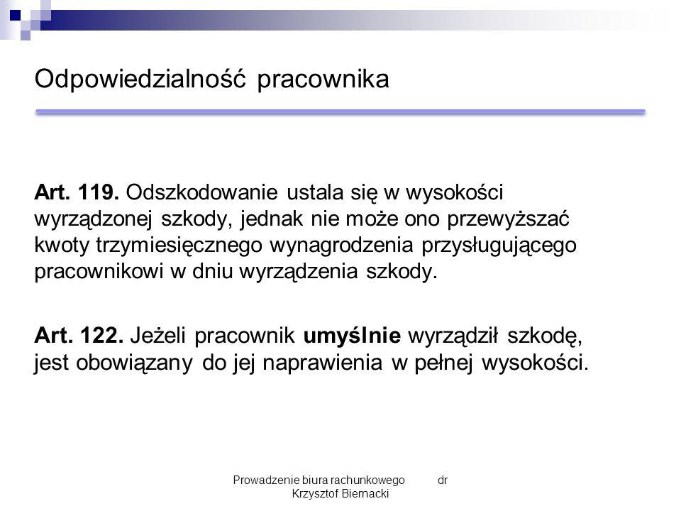 Odpowiedzialność pracownika Art. 119.