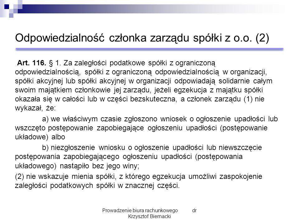 Odpowiedzialność członka zarządu spółki z o.o. (2) Art.