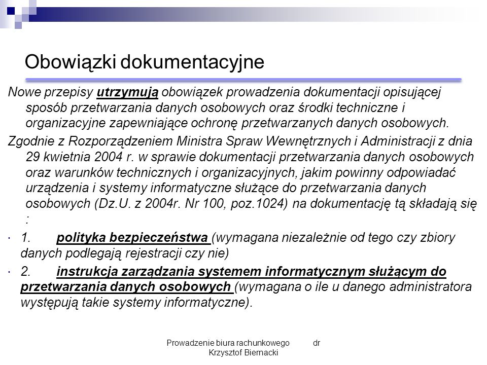 Przedmiot umowy – przykłady (2) Prowadzenie biura rachunkowego dr Krzysztof Biernacki Przygotowywanie przelewów zagranicznych Sporządzanie raportów kasowych na podstawie KP i KW Sporządzanie pism i umów handlowych Obsługa kontroli podatkowych i skarbowych Wnioski i inne dokumenty finansowe bez sprawozdania finansowego Potwierdzenie sald raz w roku Rozliczenie rocznej inwentaryzacji Sporządzenie sprawozdania finansowego rocznego Doradztwo podatkowe związane z działalnością Kontakt z urzędami skarbowymi