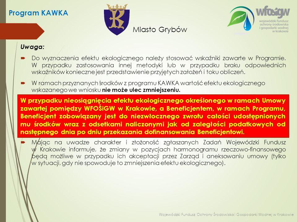 Uwaga:  Do wyznaczenia efektu ekologicznego należy stosować wskaźniki zawarte w Programie. W przypadku zastosowania innej metodyki lub w przypadku br