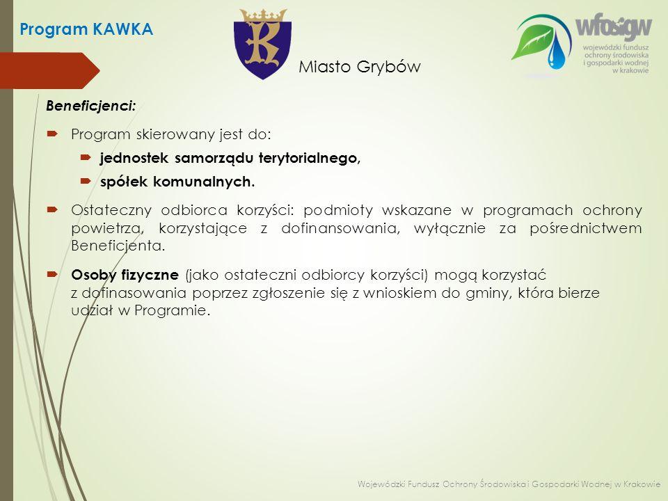 Beneficjenci:  Program skierowany jest do:  jednostek samorządu terytorialnego,  spółek komunalnych.  Ostateczny odbiorca korzyści: podmioty wskaz