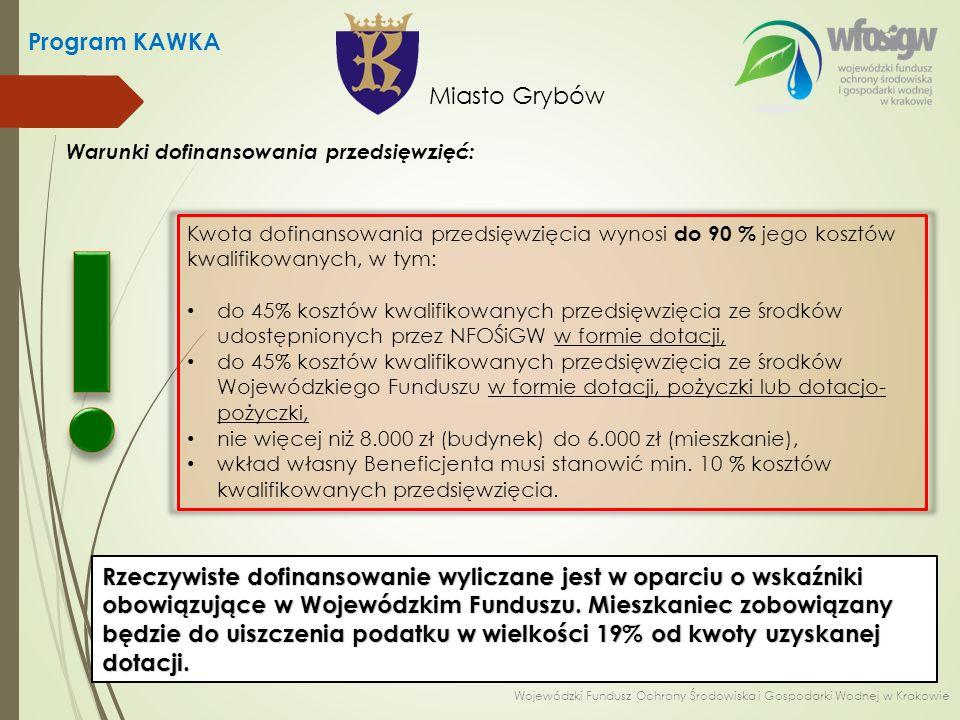 Program KAWKA Wzór wniosku (strona 4) Miasto Grybów