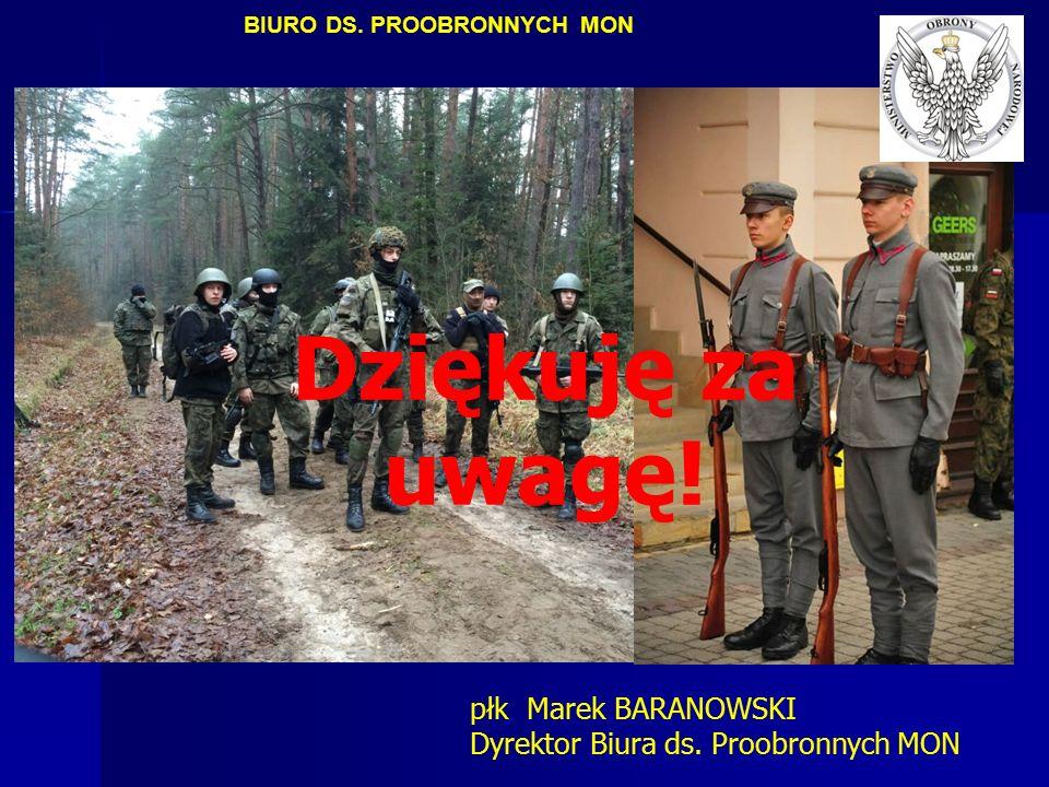 Dziękuję za uwagę! BIURO DS. PROOBRONNYCH MON płk Marek BARANOWSKI Dyrektor Biura ds. Proobronnych MON