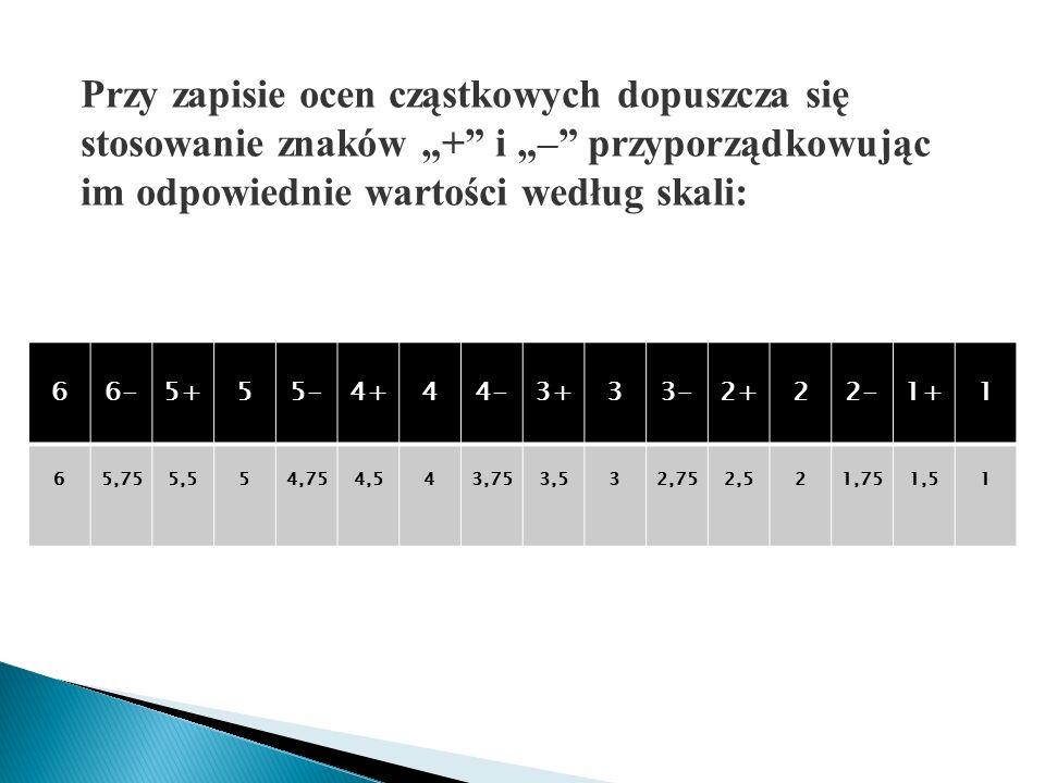 """Przy zapisie ocen cząstkowych dopuszcza się stosowanie znaków """"+ i """"– przyporządkowując im odpowiednie wartości według skali: 66-5+55-4+44-3+33-2+22-1+1 65,755,554,754,543,753,532,752,521,751,51"""
