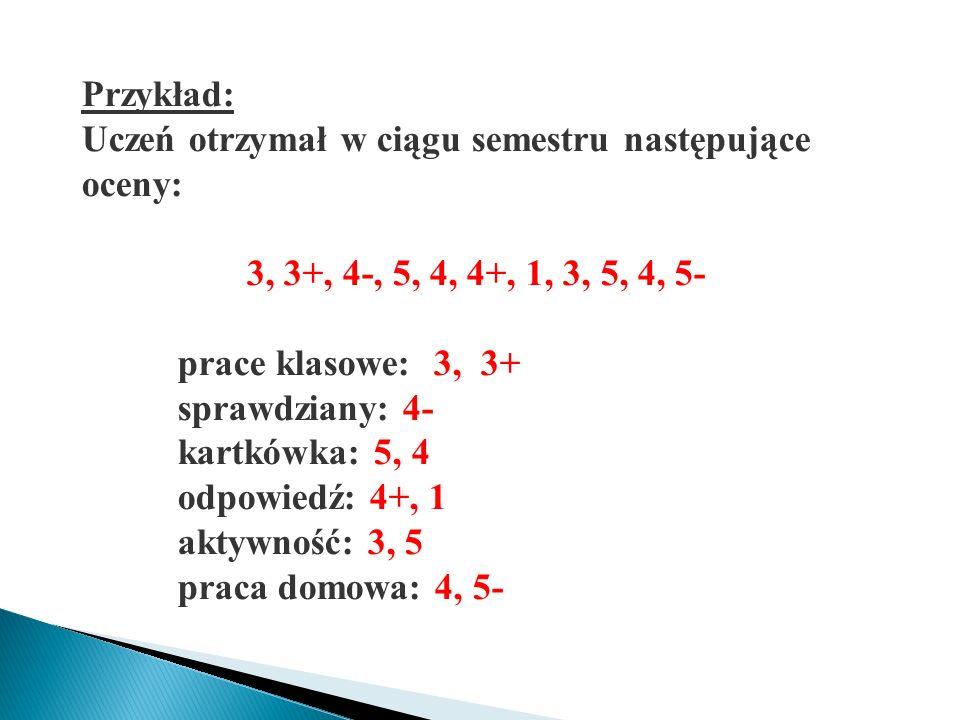 Liczymy średnią ważoną: waga 7 oceny: 3, 3+, 4- waga 4 oceny: 5, 4, 4+, 1 waga 3 oceny: 3, 5, 4, 5- śr.