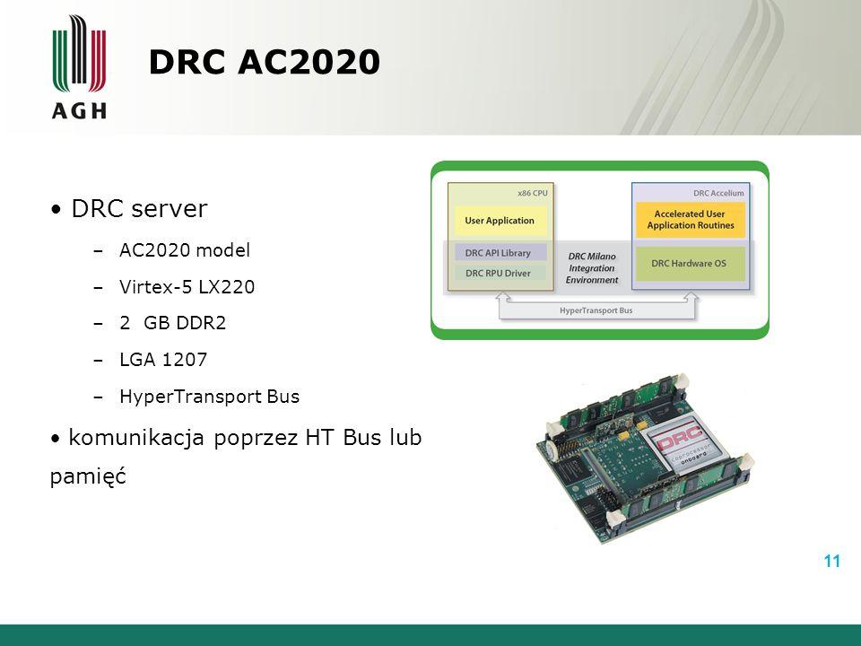 DRC AC2020 DRC server –AC2020 model –Virtex-5 LX220 –2 GB DDR2 –LGA 1207 –HyperTransport Bus komunikacja poprzez HT Bus lub pamięć 11