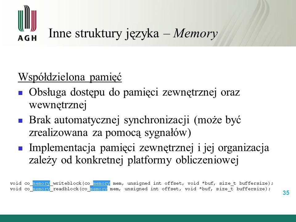 Inne struktury języka – Memory Współdzielona pamięć Obsługa dostępu do pamięci zewnętrznej oraz wewnętrznej Brak automatycznej synchronizacji (może być zrealizowana za pomocą sygnałów) Implementacja pamięci zewnętrznej i jej organizacja zależy od konkretnej platformy obliczeniowej 35