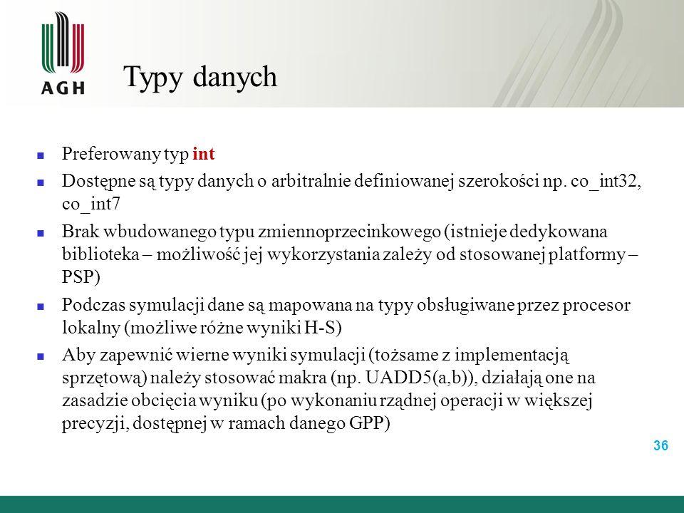 Typy danych Preferowany typ int Dostępne są typy danych o arbitralnie definiowanej szerokości np.