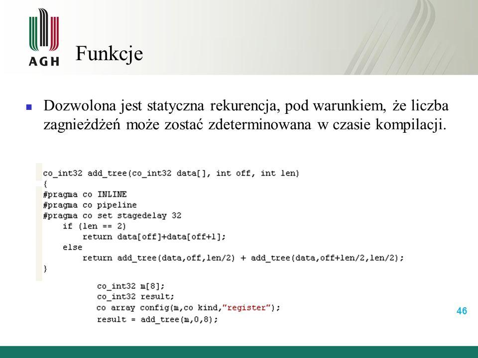 Funkcje Dozwolona jest statyczna rekurencja, pod warunkiem, że liczba zagnieżdżeń może zostać zdeterminowana w czasie kompilacji.