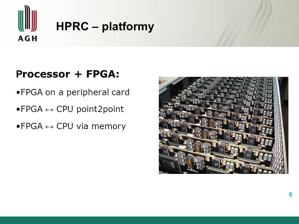 Dlaczego języki HDL nie nadają się dla HPRC  Czasochłonny proces projektowania i debuggowania zaawansowanych systemów  Place-and-route jest często liczony w godzinach dla prostych systemów  Utrudniona przenośność pomiędzy platformami  Przeniesienie może nie być optymalne  Optymalizacja projektu wymaga znajomości odpowiednich technik  Utrudnione porównanie wyników implementacji sprzętowej z oryginalnymi  Pisanie środowiska testowego (testbecha) może zająć więcej niż projektowanie systemu  Programiści HPRC to najczęściej informatycy, którzy nie znają języków opisu sprzętu