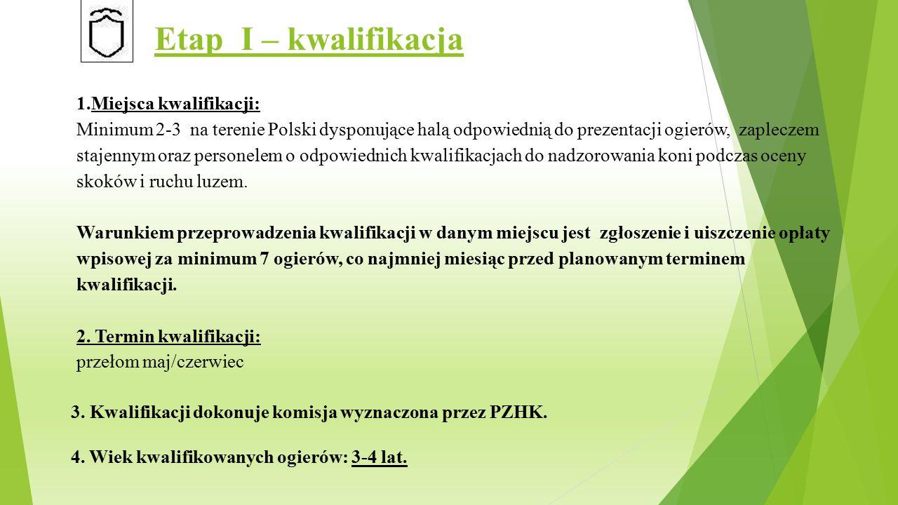 Etap I – kwalifikacja 1.Miejsca kwalifikacji: Minimum 2-3 na terenie Polski dysponujące halą odpowiednią do prezentacji ogierów, zapleczem stajennym oraz personelem o odpowiednich kwalifikacjach do nadzorowania koni podczas oceny skoków i ruchu luzem.