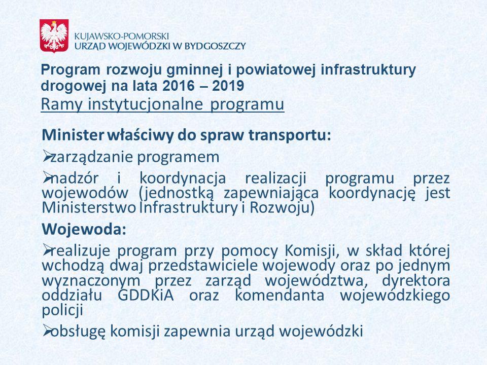 Program rozwoju gminnej i powiatowej infrastruktury drogowej na lata 2016 – 2019 Ramy instytucjonalne programu Minister właściwy do spraw transportu: