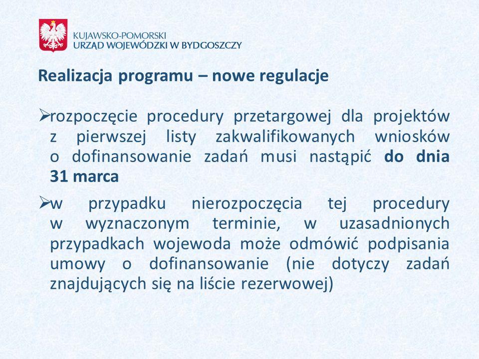 Realizacja programu – nowe regulacje  rozpoczęcie procedury przetargowej dla projektów z pierwszej listy zakwalifikowanych wniosków o dofinansowanie