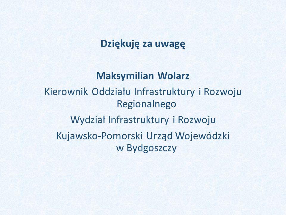 Dziękuję za uwagę Maksymilian Wolarz Kierownik Oddziału Infrastruktury i Rozwoju Regionalnego Wydział Infrastruktury i Rozwoju Kujawsko-Pomorski Urząd
