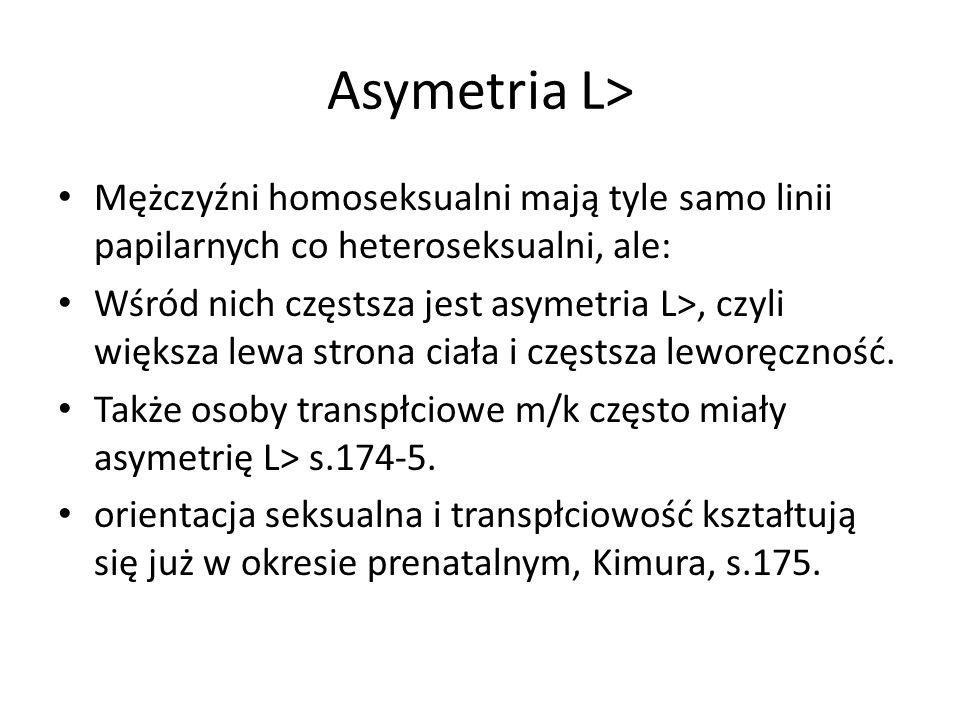 Asymetria L> Mężczyźni homoseksualni mają tyle samo linii papilarnych co heteroseksualni, ale: Wśród nich częstsza jest asymetria L>, czyli większa le