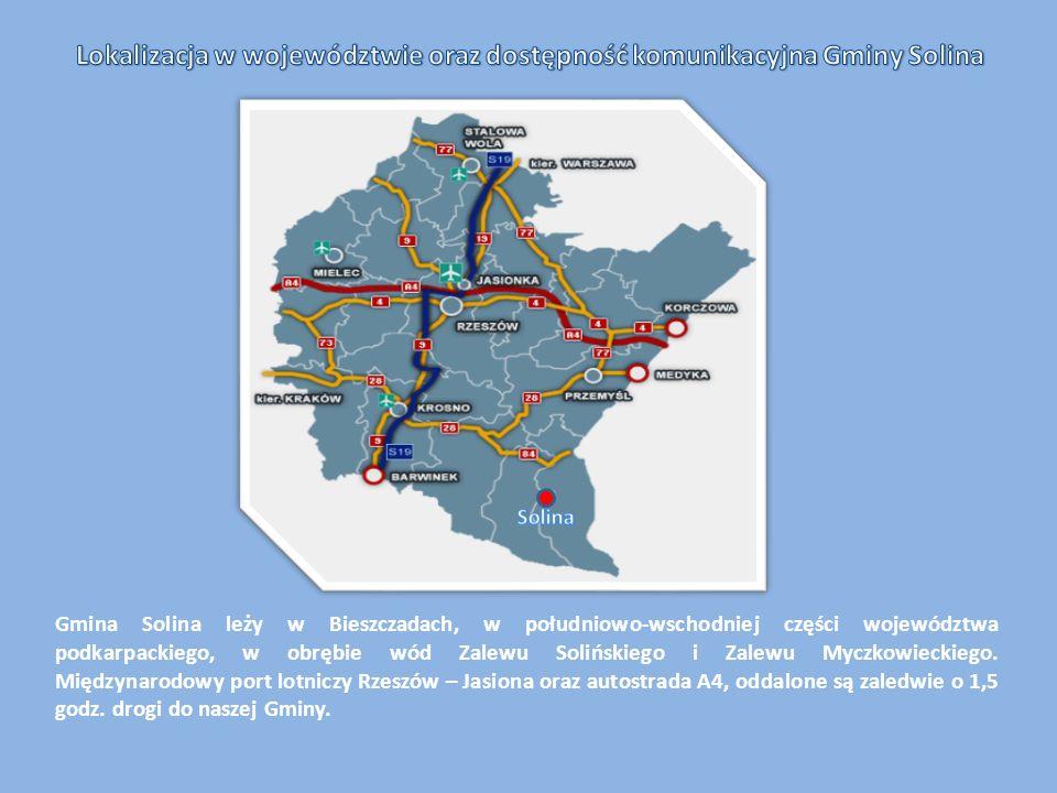 Gmina Solina leży w Bieszczadach, w południowo-wschodniej części województwa podkarpackiego, w obrębie wód Zalewu Solińskiego i Zalewu Myczkowieckiego