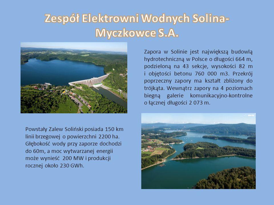 Zapora w Solinie jest największą budowlą hydrotechniczną w Polsce o długości 664 m, podzieloną na 43 sekcje, wysokości 82 m i objętości betonu 760 000