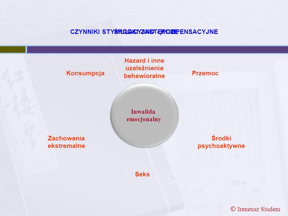 Konsumpcja Seks Przemoc Środki psychoaktywne ŚRODKI ZASTĘPCZE Zachowania ekstremalne Inwalida emocjonalny Inwalida emocjonalny CZYNNIKI STYMULACYJNO -