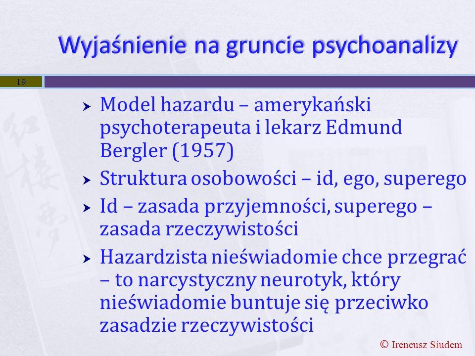 Wyjaśnienie na gruncie psychoanalizy  Model hazardu – amerykański psychoterapeuta i lekarz Edmund Bergler (1957)  Struktura osobowości – id, ego, su