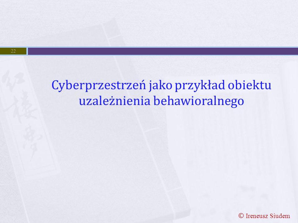 Cyberprzestrzeń jako przykład obiektu uzależnienia behawioralnego 22 © Ireneusz Siudem