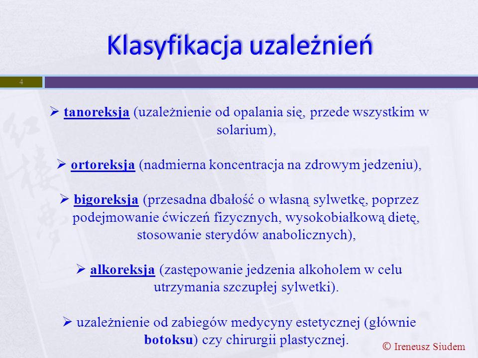 4  tanoreksja (uzależnienie od opalania się, przede wszystkim w solarium),  ortoreksja (nadmierna koncentracja na zdrowym jedzeniu),  bigoreksja (p
