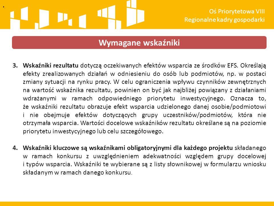 3.Wskaźniki rezultatu dotyczą oczekiwanych efektów wsparcia ze środków EFS. Określają efekty zrealizowanych działań w odniesieniu do osób lub podmiotó