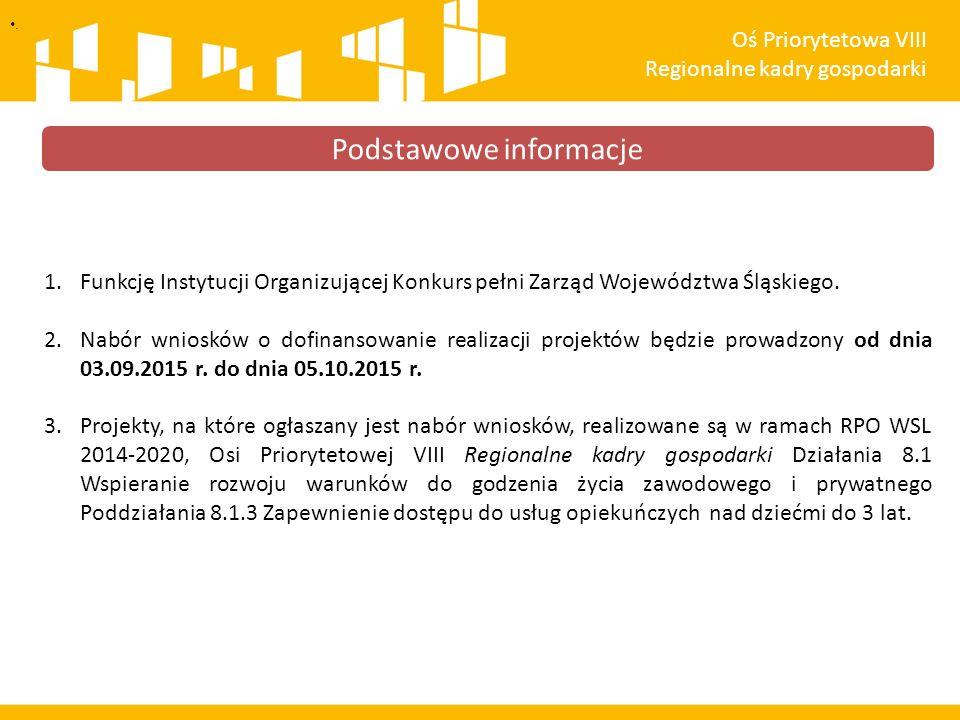 1.Funkcję Instytucji Organizującej Konkurs pełni Zarząd Województwa Śląskiego. 2.Nabór wniosków o dofinansowanie realizacji projektów będzie prowadzon