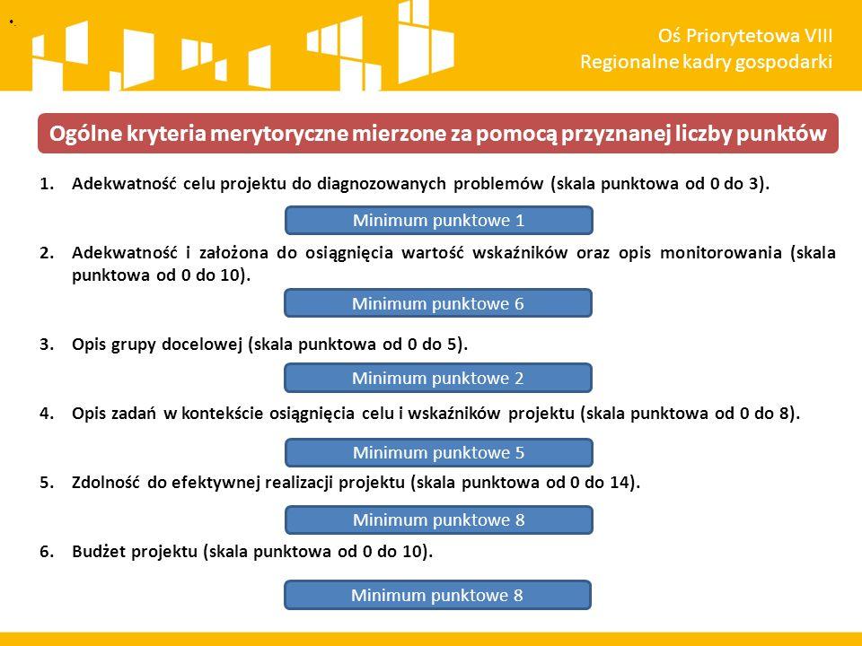 1.Adekwatność celu projektu do diagnozowanych problemów (skala punktowa od 0 do 3). 2.Adekwatność i założona do osiągnięcia wartość wskaźników oraz op