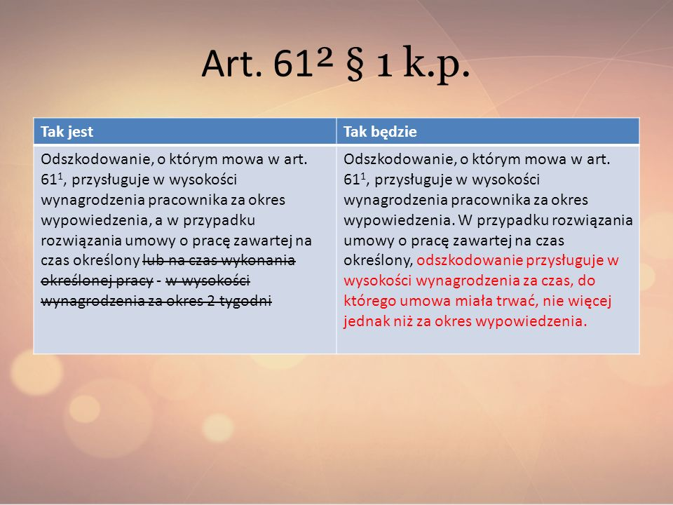 Art. 61 ² § 1 k.p. Tak jestTak będzie Odszkodowanie, o którym mowa w art. 61 1, przysługuje w wysokości wynagrodzenia pracownika za okres wypowiedzeni