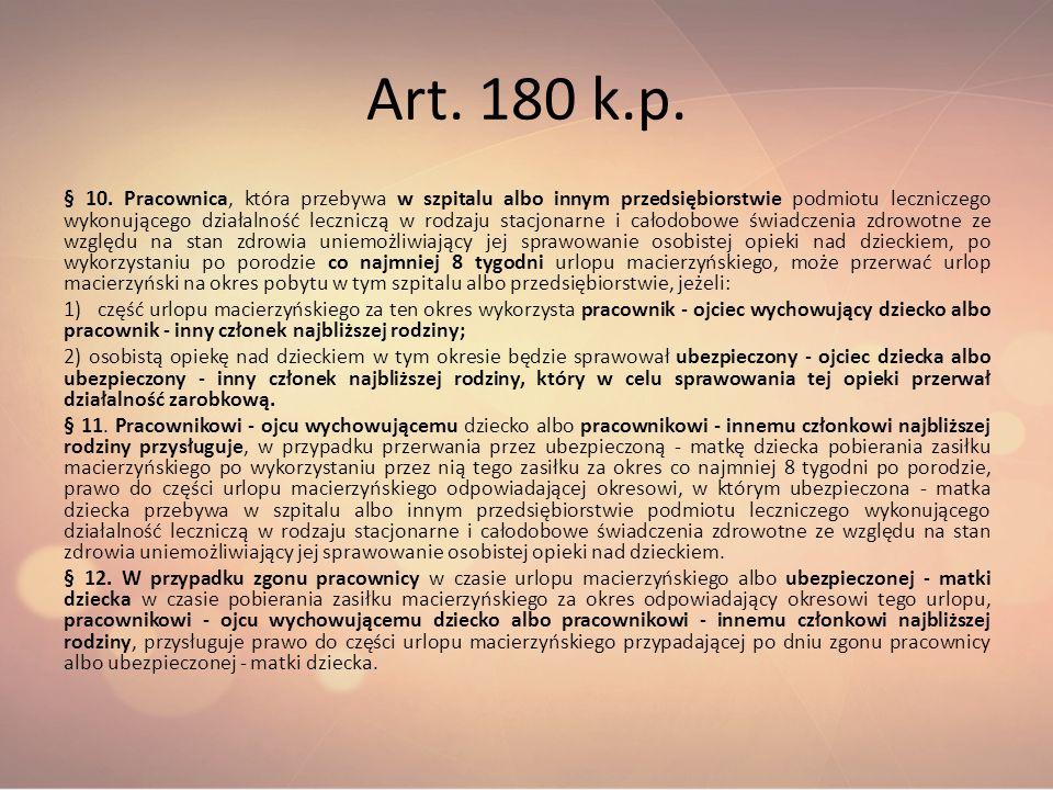Art. 180 k.p. § 10. Pracownica, która przebywa w szpitalu albo innym przedsiębiorstwie podmiotu leczniczego wykonującego działalność leczniczą w rodza