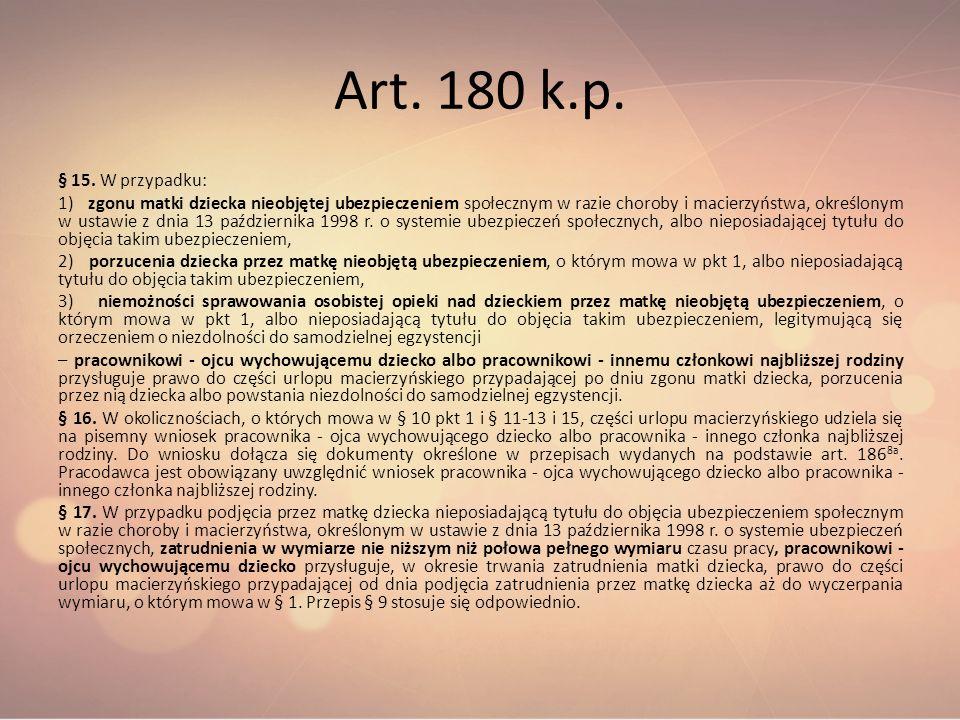 Art. 180 k.p. § 15. W przypadku: 1) zgonu matki dziecka nieobjętej ubezpieczeniem społecznym w razie choroby i macierzyństwa, określonym w ustawie z d