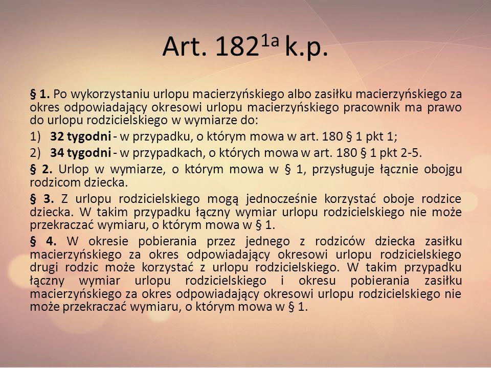 Art. 182 1a k.p. § 1. Po wykorzystaniu urlopu macierzyńskiego albo zasiłku macierzyńskiego za okres odpowiadający okresowi urlopu macierzyńskiego prac