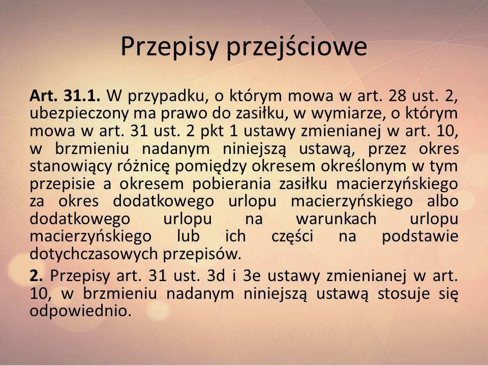 Przepisy przejściowe Art. 31.1. W przypadku, o którym mowa w art. 28 ust. 2, ubezpieczony ma prawo do zasiłku, w wymiarze, o którym mowa w art. 31 ust